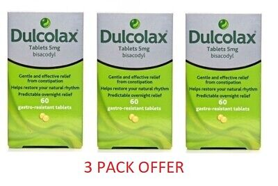 180 TABLETS - 60 x 3 Dulcolax 5mg Gastro-Resistant Constipation Laxative Tablets