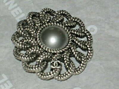 Chanel 1  Silver Metal Light Gray Pearl Button 22 Mm/ Around 1''   New