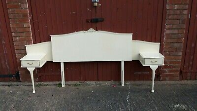 Vintage french louis style cream headboard & bedside table drawers