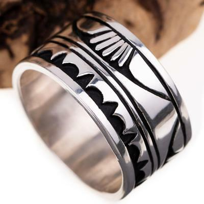 Navajo Ring Sterling Silver NELSON BEGAY Overlay BIG MENS 13.5 Native American