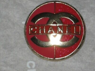 Chanel 1  Matte Gold Metal Red Enamel  Button 22 Mm/ Around 1''   New  Cc Logo