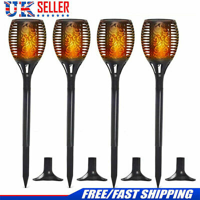 6X Waterproof 96LED Solar Torch Lights Dancing Flickering Flame Garden Lamp UK
