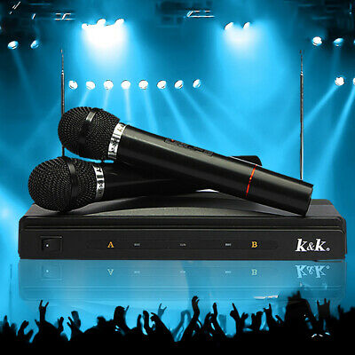 Public Wedding Speech Wireless Cordless DJ Karaoke Mic Microphone System 2pcs UK