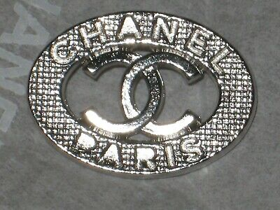 CHANEL  CC LOGO FRONT AUTH CLEAN SILVER  BUTTON TAG 16 x 12 MM emblem NEW