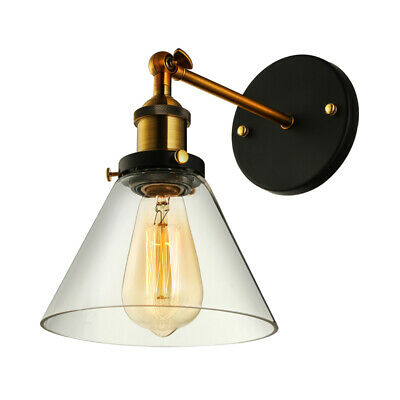 Retro Wall Sconce Industrial Adjustable Wall Light with Clear Glass Cone Shade