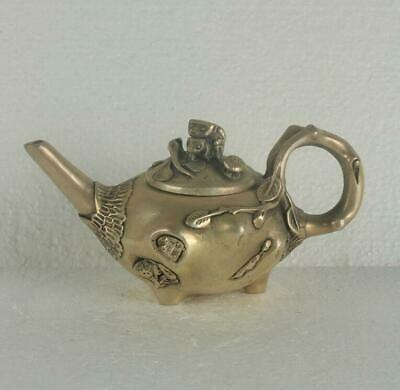 Old Chinese Silve Copper Hand Made Teapot With Qianlong Mark
