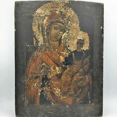 Antique 18th Century Russian Orthodox Icon of Madonna and Child