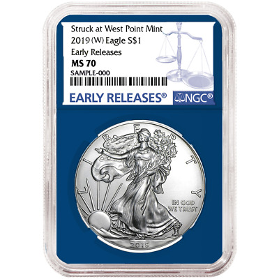 2019 (W) $1 American Silver Eagle NGC MS70 Blue ER Label Blue Core