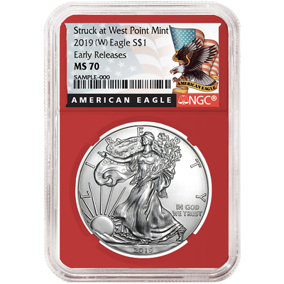 2019 (W) $1 American Silver Eagle NGC MS70 Black ER Label Red Core