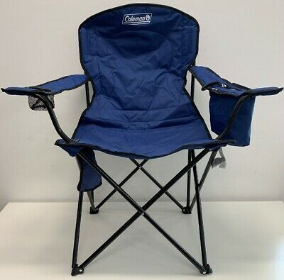 Coleman Portable Camping Quad Chair 4-Can Cooler Fully cushioned Blue (No Bag)