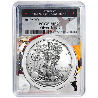 2019 (W) $1 American Silver Eagle PCGS MS70 West Point Frame