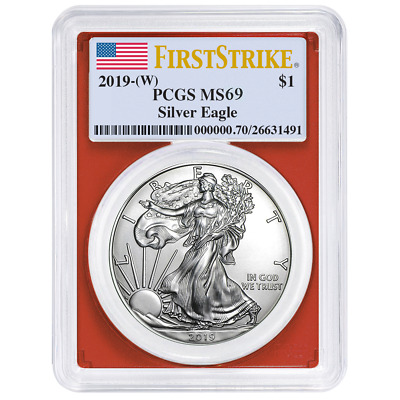 2019 (W) $1 American Silver Eagle PCGS MS69 First Strike Flag Label Red Frame