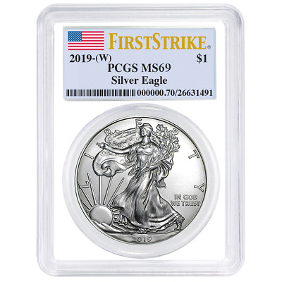 2019 (W) $1 American Silver Eagle PCGS MS69 First Strike Flag Label White Frame