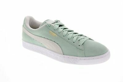 Puma Suede Classic Mens Green Suede Low Top Lace Up Sneakers Shoes