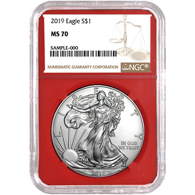 2019 $1 American Silver Eagle NGC MS70 Brown Label Red Core