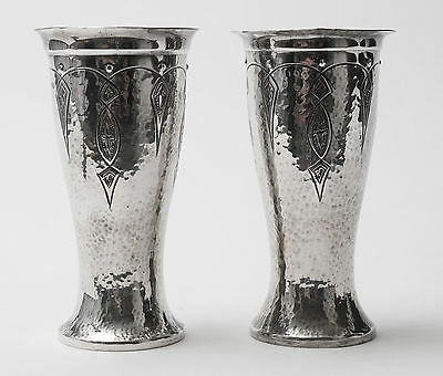 A Pair of Mayflower English Arts & Crafts Design Polished Planished Pewter Vases