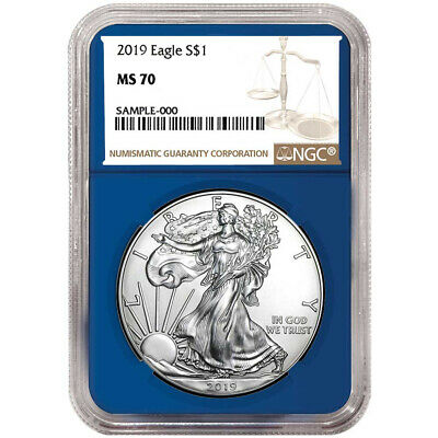 2019 $1 American Silver Eagle NGC MS70 Brown Label Blue Core