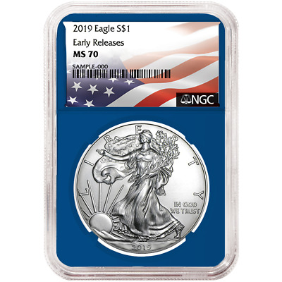 2019 $1 American Silver Eagle NGC MS70 Flag ER Label Blue Core