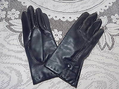 ladies vintage navy blue faux leather cotton backed vinyl gloves size L