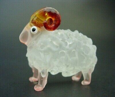 Glass SHEEP RAM Stained White Painted Bubble Glass Ornament Glass Animal Gift