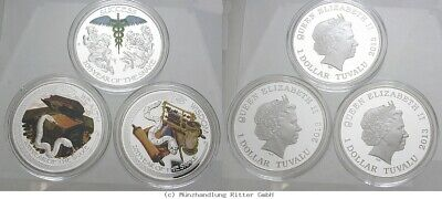 RITTER Tuvalu, 3x Dollar 2013, Year of the Snake - Wealth, Wisdom, Success, PP