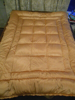 "Antique Gold Satin Vintage Eiderdown Feather Downton Plump Single 49"" Quilt Bed"