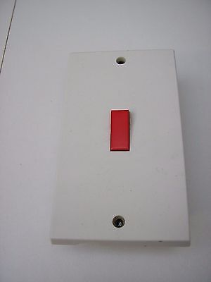 45 Amp Double Pole Double Plate Switch White With Metal Back Box
