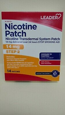 Leader Nicotine Step 2 Transdermal Patch, 21mg, 14 count expires: 03/20