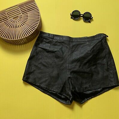 Vintage black leather hot pants shorts by Clio Leather - festival wear