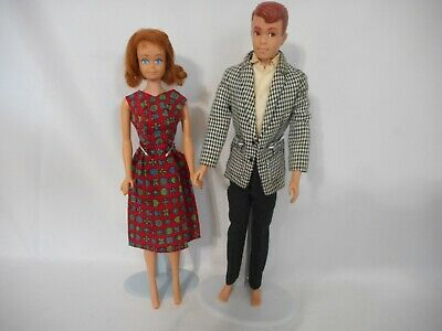 Vintage 1960's Midge & Alan Mattel Dolls w Red Hair & Ken Clothes Outfit Japan