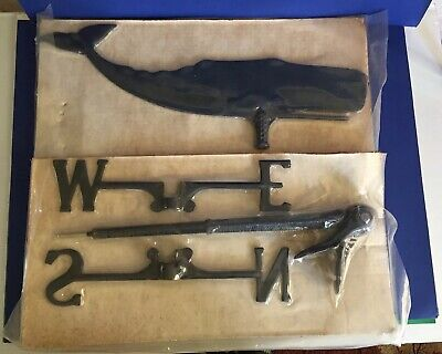 "Vintage Black Metal Whale Directional Weathervane 24"" New Old Stock"