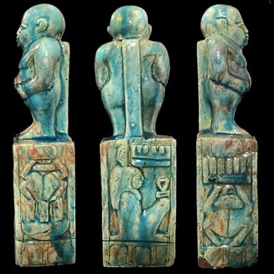 Beautiful Ancient Egyptian Blue Glazed Statue 300 Bc (1) Large !!!!