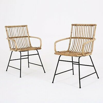 x2 Midcentury Bamboo Cane Rattan Occasional Chairs Armchairs Vintage Boho 1950s