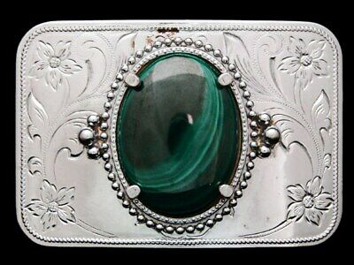 JF13109 VINTAGE 1970s **AGATE CENTER STONE** POLISHED NICKEL WESTERN BUCKLE