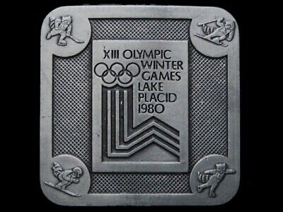 Jk19140 Nice Vintage 1980 **Xiii Olympic Winter Games** Pewter Belt Buckle