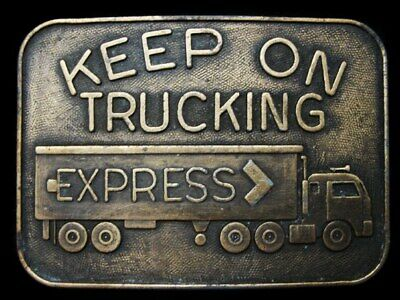 LB19162 VINTAGE 1970s KEEP ON TRUCKING (EXPRESS TRUCK) BELT BUCKLE