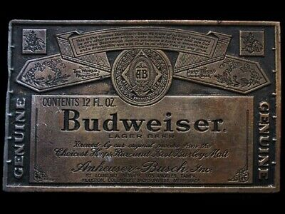 JK21137 VINTAGE 1970s BERGAMOT **BUDWEISER LAGER BEER** BOTTLE LABEL BELT BUCKLE