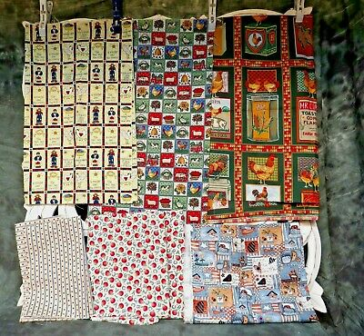 Vintage Quilt Fabric Lot Country Chicken Pig Sheep Apples Farm Sunflower