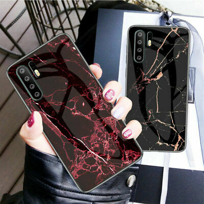 For Huawei P30 Pro Lite P20 Luxury Marble Tempered Glass Hybrid Hard Case Cover