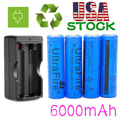 Ultrafire 18650 Battery 6000mAh 3.7V Li-ion Rechargeable Batteries Cell Charger