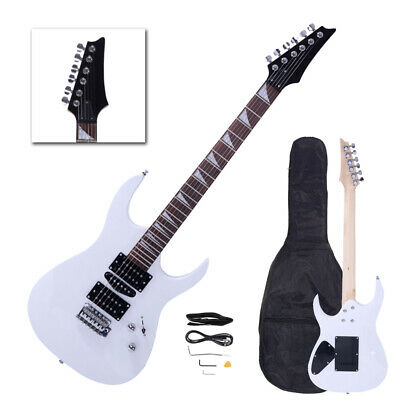 New White Flame Type Maple Wood 24 Frets Beginner Electric Guitar Set