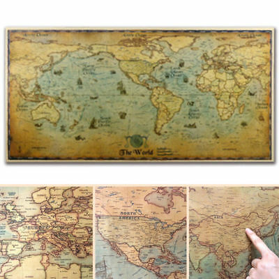 Vintage World Map Detailed Poster Kraft Paper Poster Home Office School Decor