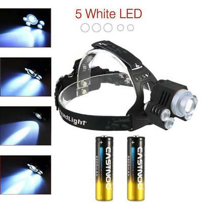 X-XML T6 5 LED Headlamp Flashlight 90000 LM Rechargeable Zoom Focus Torch HOT GL