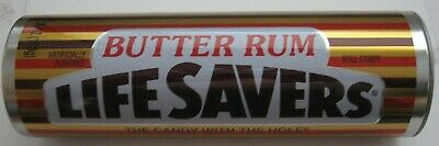 Butter Rum Lifesavers Tin Tube Candy Metal Cylinder Container Empty