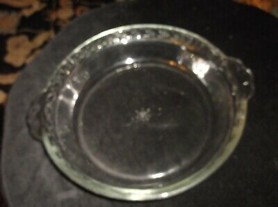 """Useful Clear Pyrex Glass Flan / Pie Dish With Scallop Tab Handles 9"""" Dia X 1.75"""""""