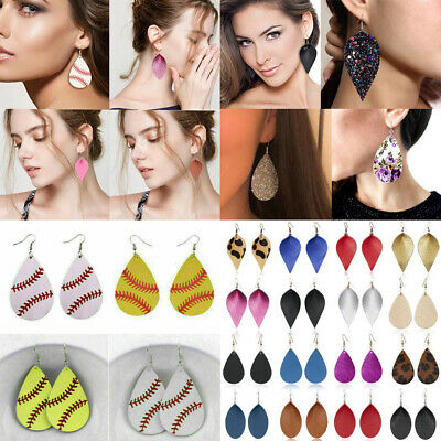 Girls Fashion Personalized Leather Drop Earrings Costume Teardrop Jewelry Gift