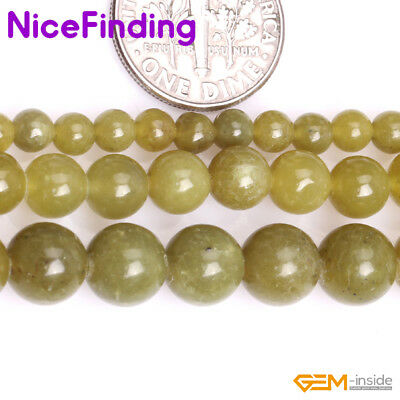 Natural A Grade Yellow Green Olive Jade Loose Stone Beads For Jewelry Making 15""