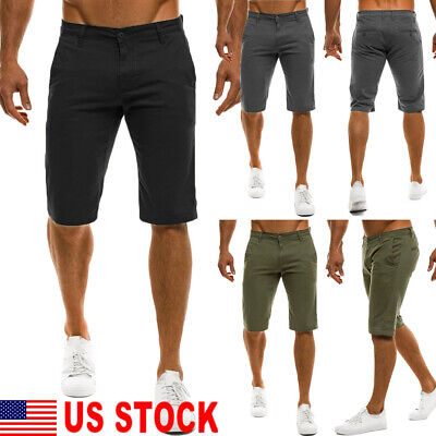 Mens Slim Fit Chino Solid Color Shorts Casual Work Uniform Pant Summer Jean US