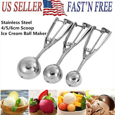 Ice Cream Ball Spoon Mash Potato Cookie Dough Food Scoop Stainless Steel Scooper
