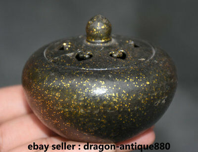 8CM Old Marked Collect Chinese Bronze Buddhism incense burner Censer